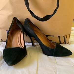 Mira Madewell Black Suede Pointed Toe Pumps